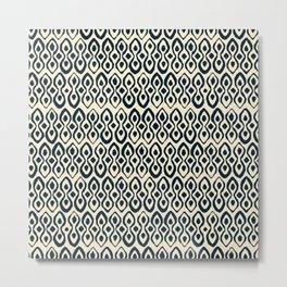 brocade indigo ivory Metal Print