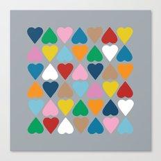 Diamond Hearts on Grey Canvas Print