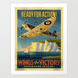 Spitfire over Cliffs of Dover  Art Print