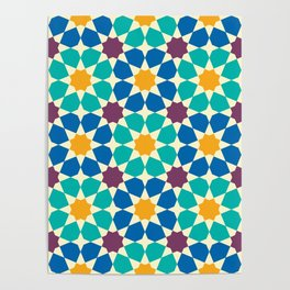 Moroccan pattern, Morocco. Patchwork mosaic with traditional folk geometric ornament Poster
