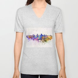 Anchorage skyline in watercolor background Unisex V-Neck