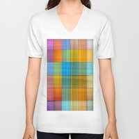 fabric V-neck T-shirts featuring Fabric by RingWaveArt