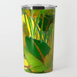 GOLDEN TROPICAL FOLIAGE GREEN & GOLD LEAVES AR Travel Mug