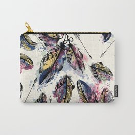 Be wild. Boho watercolor feathers. Fashion Carry-All Pouch