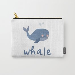 Cute Rhyming Animals for Kids. Papercut Nursery Design on White Solid. Quail Whale Snail Carry-All Pouch