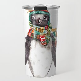 Penguin in a scarf (male) Travel Mug