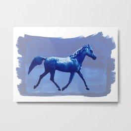 Blue Horse - by Mindia Metal Print