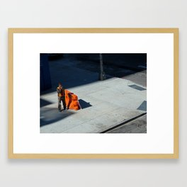 Smoking Construction Worker Framed Art Print