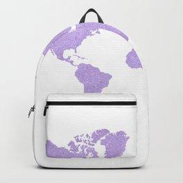 PURPLE GLITTER WORLD MAP Backpack