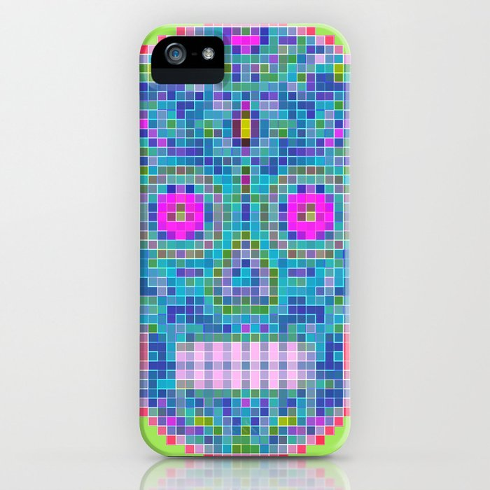 Sugar Skull Squares - Blue iPhone Case