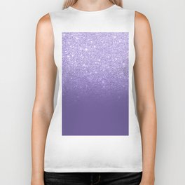 Modern ultra violet faux glitter ombre purple color block Biker Tank
