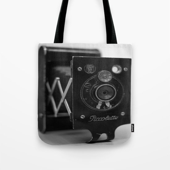 Black and white Vintage camera Tote Bag