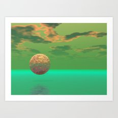 Pleasure, Abstract Green and Gold Completion Art Print