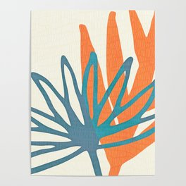 Mid Century Nature Print / Teal and Orange Poster