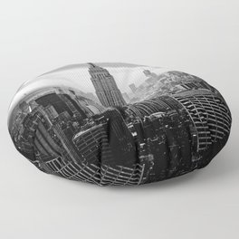 New york city black white 2 Floor Pillow