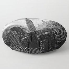 New york city black white 2 Floor Pillow