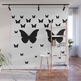 GOTHIC EBONY BLACK BUTTERFLIES & WHITE-BLACK ART Wall Mural