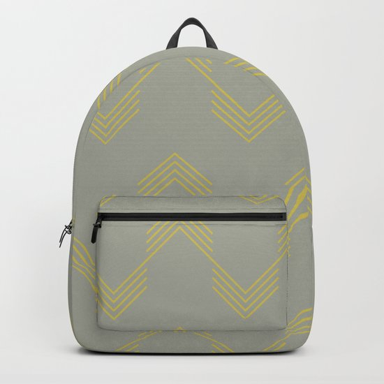 Simply Deconstructed Chevron Mod Yellow on Retro Gray Backpack