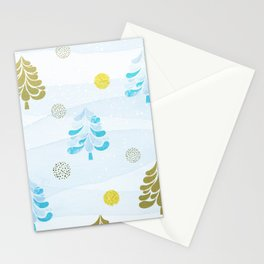 Scandinavian Christmas Trees Gold & Ice Blue 2.0 Stationery Cards