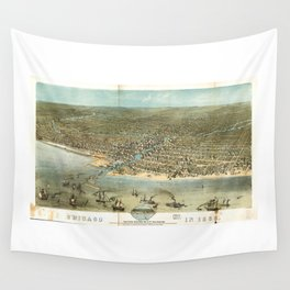 Chicago in 1868 from Schiller Street north side to 12th Street south side Wall Tapestry
