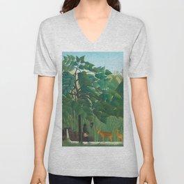 "Henri Rousseau ""The Waterfall"", 1910 Unisex V-Neck"