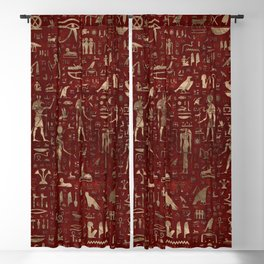 Ancient Egyptian Gods and hieroglyphs - Red Leather and gold Blackout Curtain