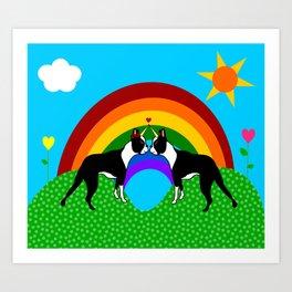 Boston Terrier Unicorn Love Art Print