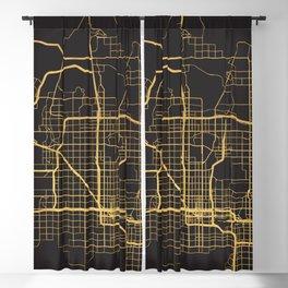 PHOENIX ARIZONA GOLD ON BLACK CITY MAP Blackout Curtain