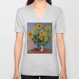 Bouquet of Sunflowers - Claude Monet Unisex V-Neck