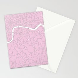 London Pink on White Street Map Stationery Cards