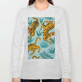Asian tigers and tropic plants on background. Long Sleeve T-shirt