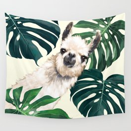 Sneaky Llama with Monstera Wall Tapestry