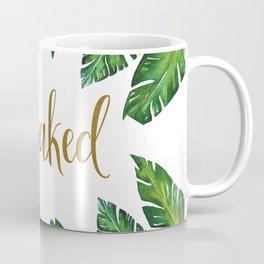 Get Naked Bathroom Decor, Green Tropical Palm Leaves, Gold Text Coffee Mug