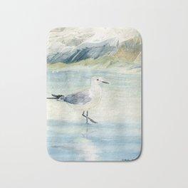Seagull on the beach Bath Mat
