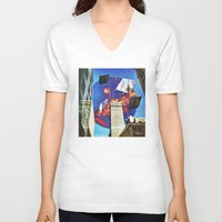 montreal V-neck T-shirts featuring Gateway To Montreal by Mathieu LaBerge