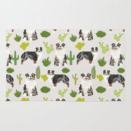 Australian Shepherd owners dog breed cute herding dogs aussie dogs animal pet portrait cactus Rug