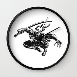 Ninja skeleton attacking , skull illustration , dark samurai , black warrior , gothic halloween Wall Clock