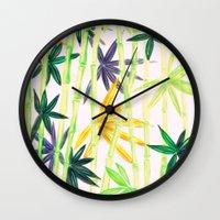 bamboo Wall Clocks featuring Bamboo by Federico Faggion