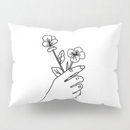 Violet & Primrose Line Drawing (Birth Flower Series - February) Pillow Sham