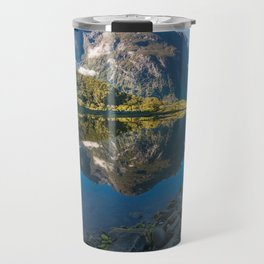 Mountain Reflection in the Bay at Milford Sound Travel Mug