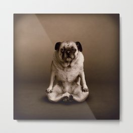 Pug the Yoga Doga Dog Metal Print