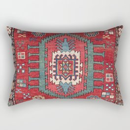 Tribal Honeycomb Palmette IV // 19th Century Authentic Colorful Red Flower Accent Pattern Rectangular Pillow