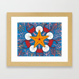 Starfish and Coral Framed Art Print