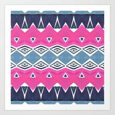 Geo Triangle Pink Navy 2 Art Print