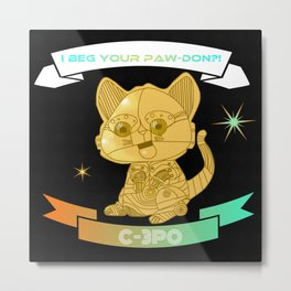 """I beg your paw-don!?!"" C-3PO kitten Metal Print"