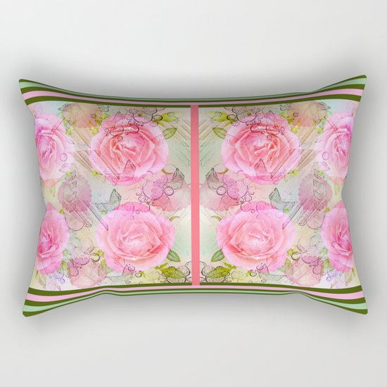 Pink roses on a painterly background Rectangular Pillow