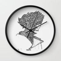 cowboy bebop Wall Clocks featuring Space Cowboy by Hinterlund