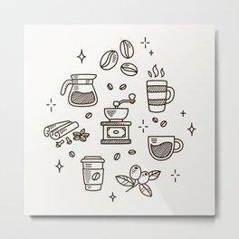 Coffee Doodles Metal Print