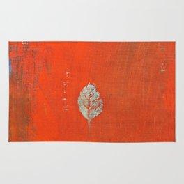 botanical illustration. silver acrylic leaf. red background Rug