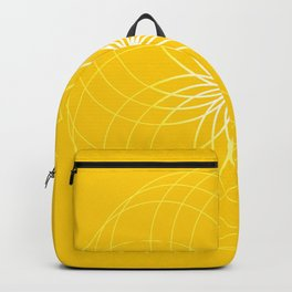 Minimalist Geometric Sunny Circular Floral Art in Mustard, Gold and White Backpack